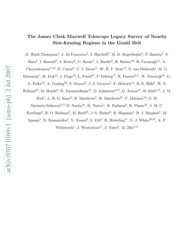 D. Ward-Thompson - The James Clerk Maxwell Telescope Legacy Survey of Nearby Star-forming Regions in the Gould Belt