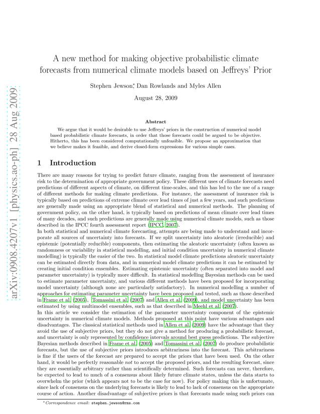Stephen Jewson - A new method for making objective probabilistic climate forecasts from numerical climate models based on Jeffreys' Prior