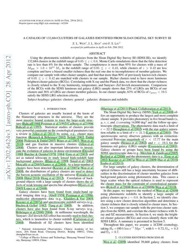 Z. L. Wen - A catalog of 132,684 clusters of galaxies identified from Sloan Digital Sky Survey III
