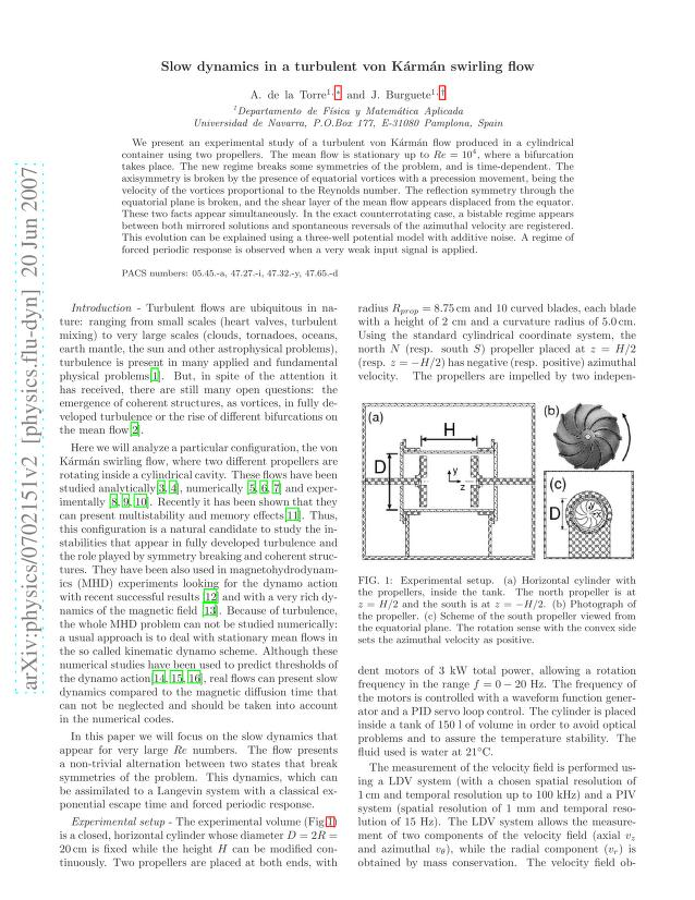 Alberto de la Torre - Slow dynamics in a turbulent von Kármán swirling flow